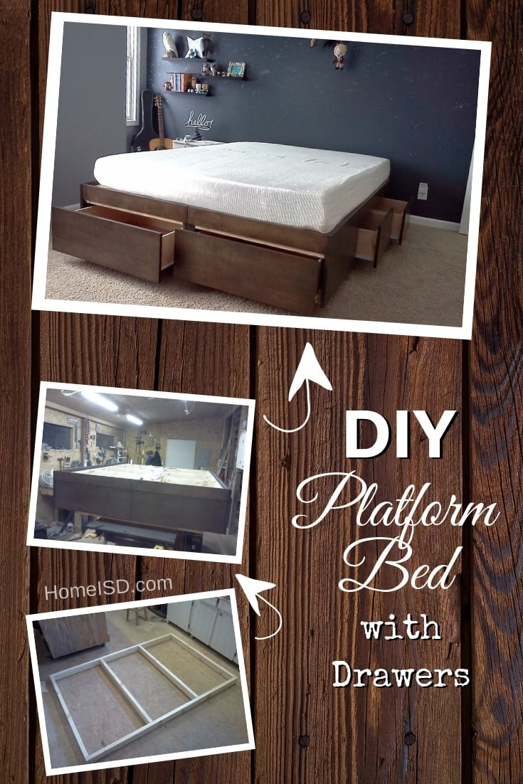DIY Platform Bed With Drawers - great project idea! Check out other DIY bed frame project ideas with tutorials too! #DIY #homedecor #bedroomdecor #furniture