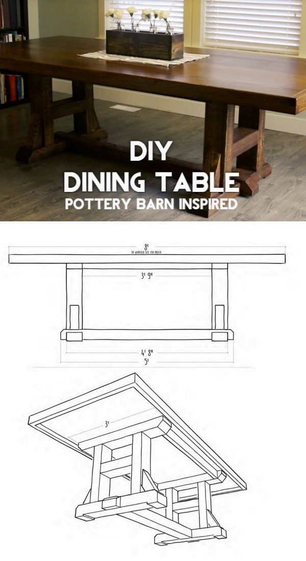 Check out the tutorial on how to make a #DIY Pottery Barn inspired dining table. Looks easy enough! #HomeDecorIdeas