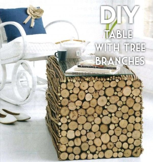 Check out the tutorial on how to make a #DIY coffee table from tree brunches. Looks easy enough! #HomeDecorIdeas