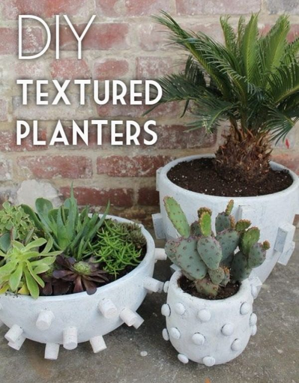 Great idea! Check out the tutorial on how to make  textured concrete garden planters