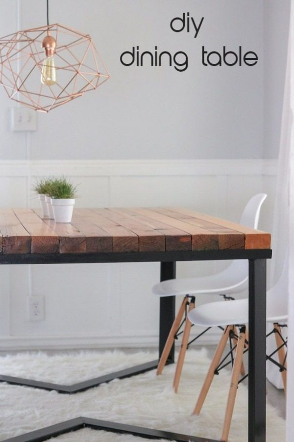 wooden top metallic base dining table