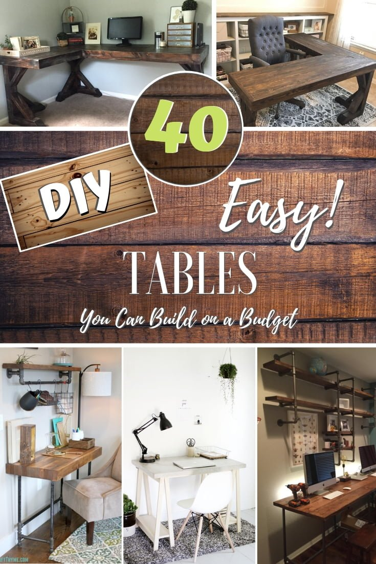 Want to build a beautiful wooden table? Here are 40 easy DIY tables with plans that you can build on a budget! #DIY #homedecor