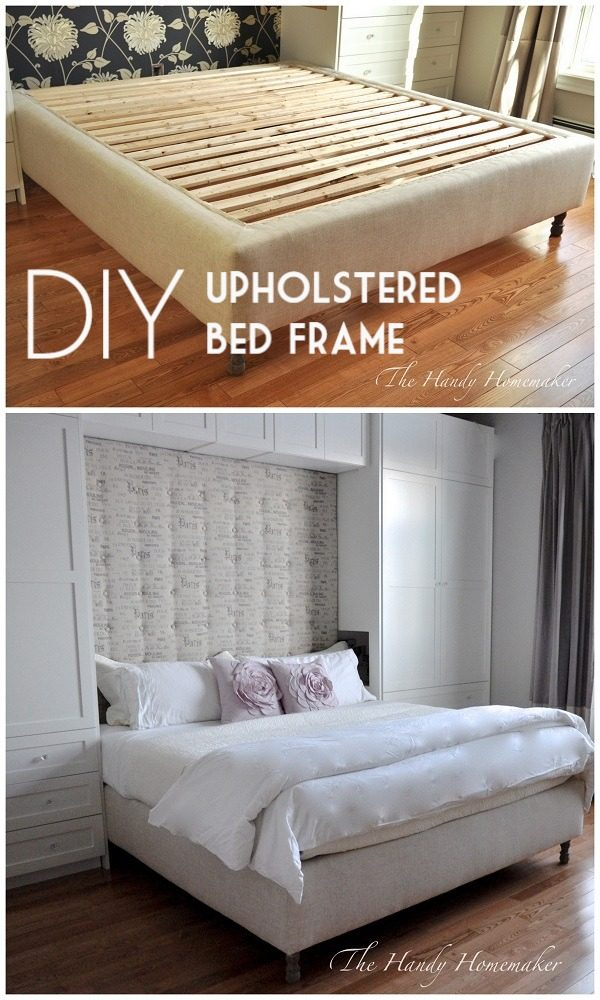 45 Easy DIY Bed Frame Projects You Can Build on a Budget - Check out the tutorial on how to make a #DIY upholstered king size bed frame. Looks easy enough! #BedroomIdeas #HomeDecorIdeas