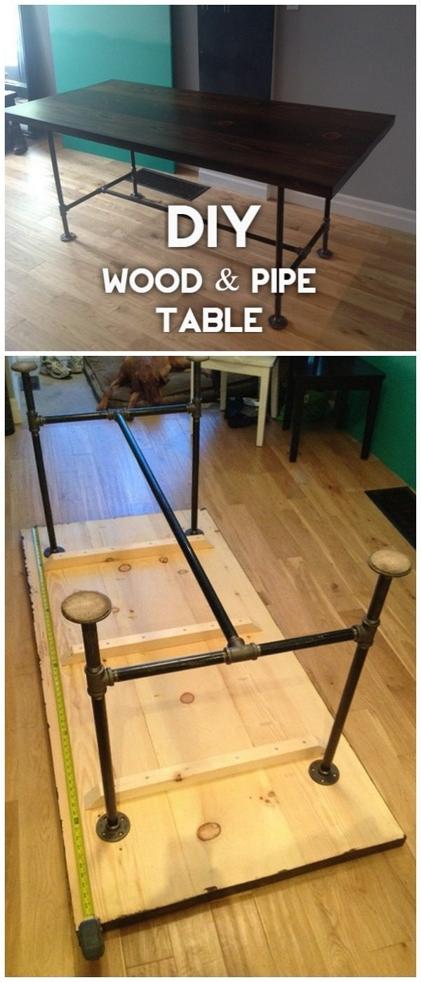 Check out the tutorial on how to make a #DIY wood and pipe table. Looks easy enough! #HomeDecorIdeas