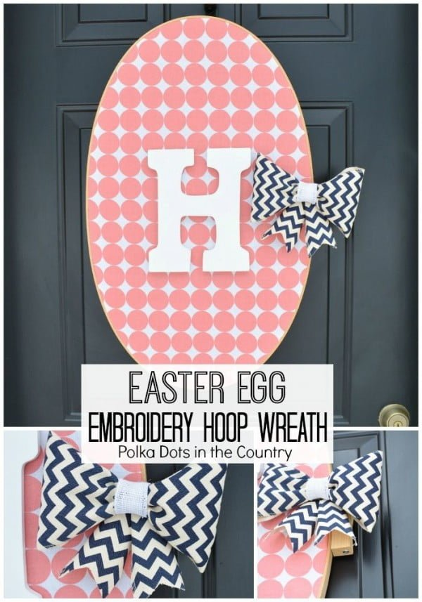 Check out this cute  decor idea with an Easter egg embroidery wreath. Love it!