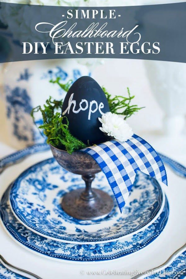 Check out this cute  decor idea with chalkboard eggs. Love it!