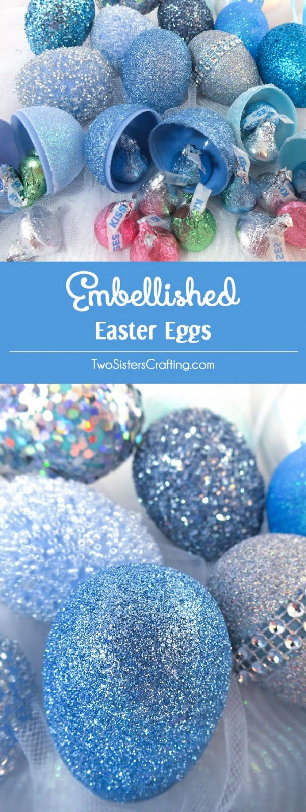 Check out this cute  decor idea with embellished Easter eggs. Love it!
