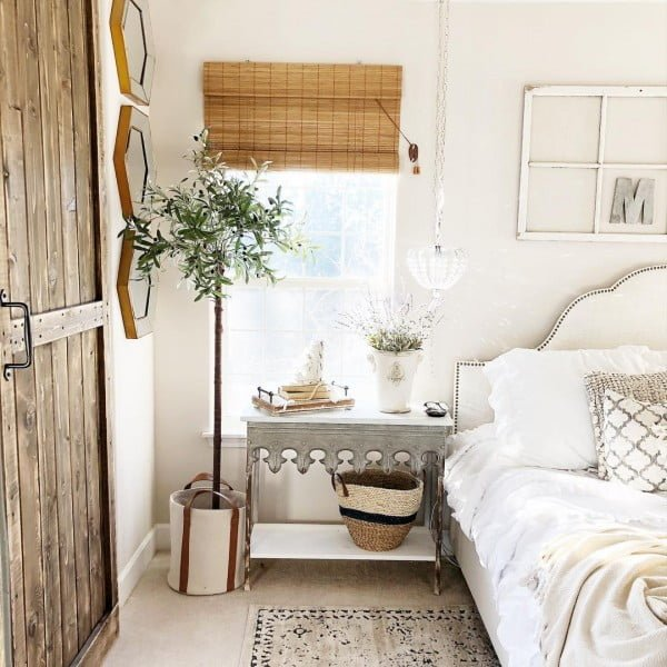 You have to see this #farmhouse bedroom decor idea with a galvanized nightstand. Love it! #BedroomIdeas #HomeDecorIdeas