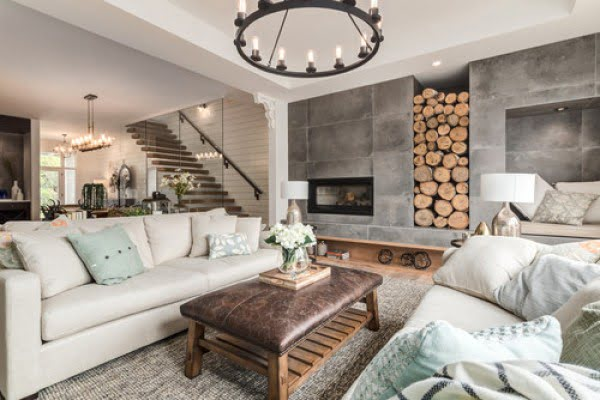 #farmhouse living room decor idea with a rustic chandelier. Love it! #HomeDecorIdeas