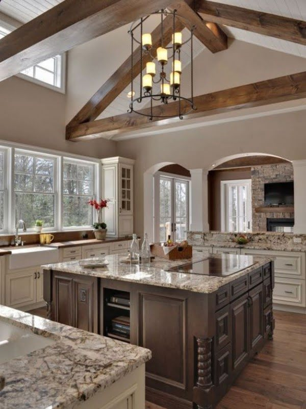 You have to see this #farmhouse kitchen decor idea with hardwood floor. Love it! #HomeDecorIdeas