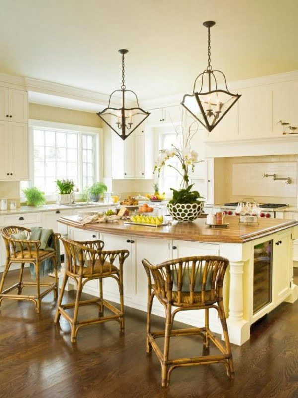 kitchen decor idea with wicker chairs. Love it!