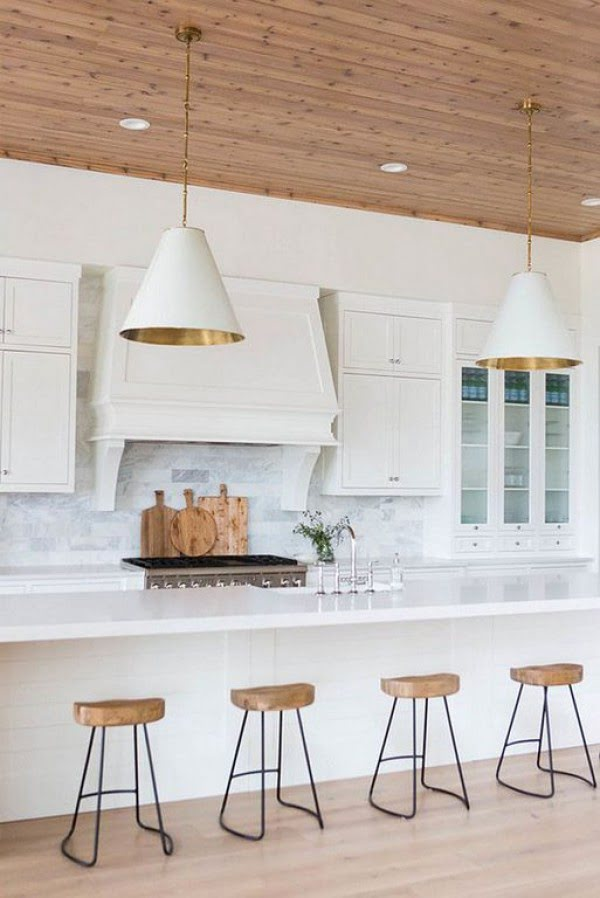 You have to see this #farmhouse kitchen decor idea with a wood plank ceiling. Love it! #HomeDecorIdeas