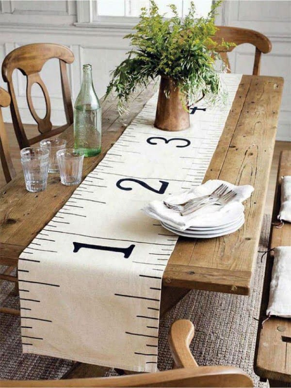 decor idea with a rustic table runner. Love it!