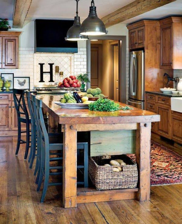 You have to see this #farmhouse kitchen decor idea with a rustic wood island. Love it! #HomeDecorIdeas