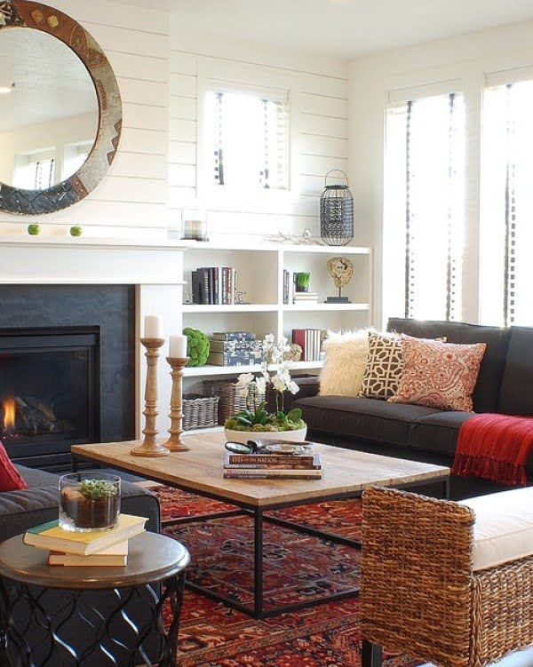 living room decor idea with wicker furniture. Love it!