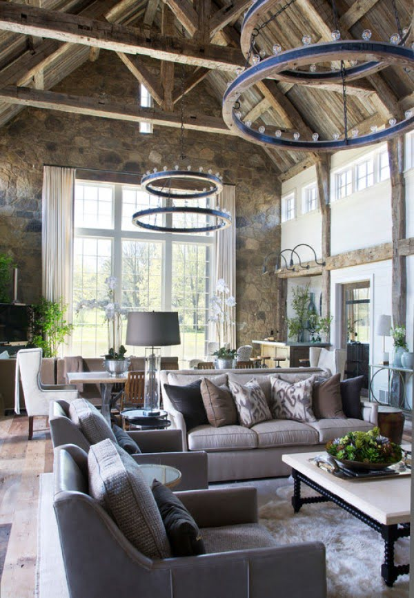 living room decor idea with exposed stone walls. Love it!