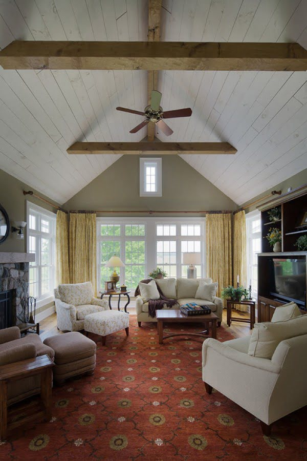 living room decor idea with barn ceiling. Love it!