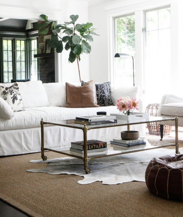 living room decor idea with with glass coffee table. Love it!