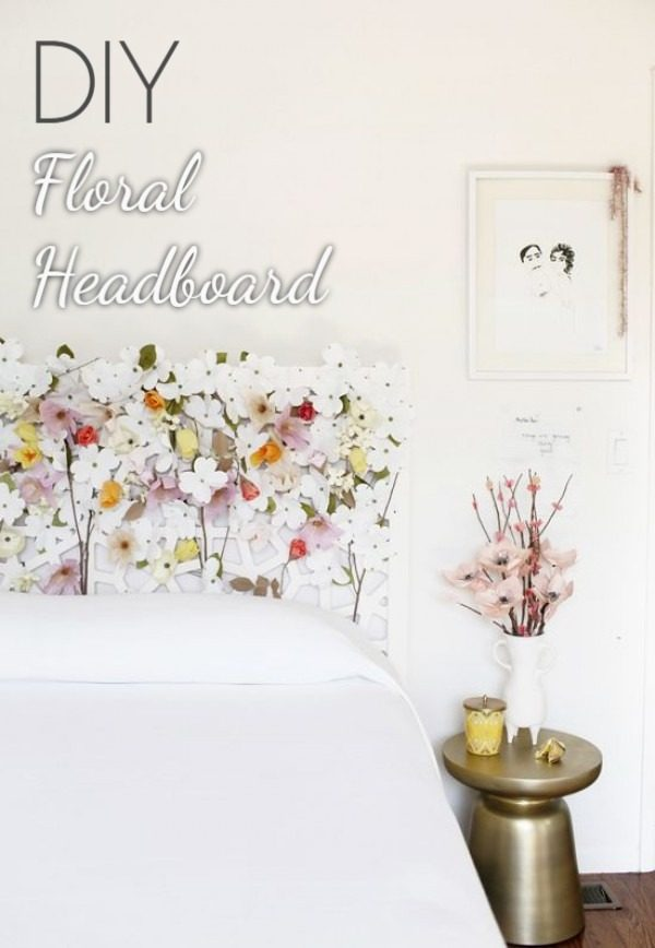 Check out this tutorial on how to make a  floral headboard. Looks easy enough!