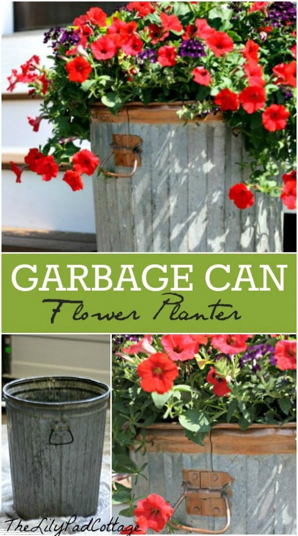 Great idea! Check out the tutorial on how to make a  garbage can garden planter