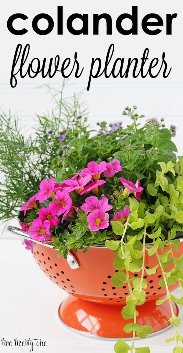 Great idea! Check out the tutorial on how to make a  colander garden planter