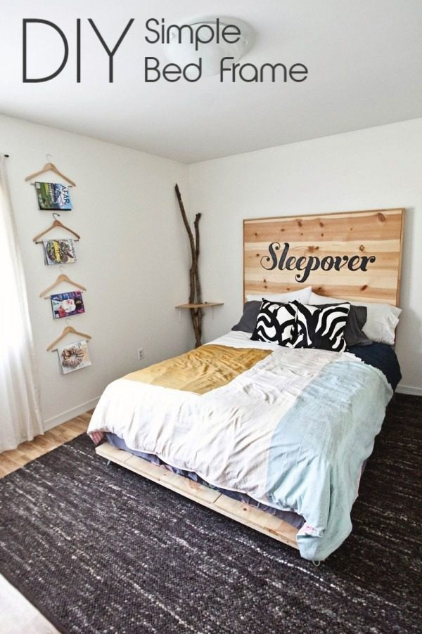 45 Easy DIY Bed Frame Projects You Can Build on a Budget - Check out the tutorial on how to make a #DIY pine board bed frame. Looks easy enough! #BedroomIdeas #HomeDecorIdeas