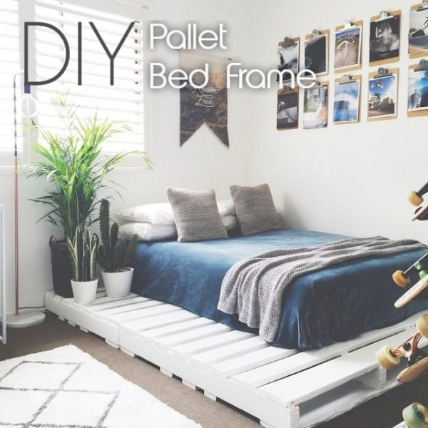 bed made of pallets in a teen's room