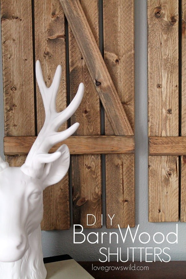 Check out the tutorial on how to make  barnwood shutters. Looks easy enough!