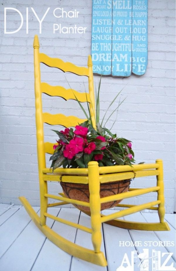 Great idea! Check out the tutorial on how to make a  chair garden planter