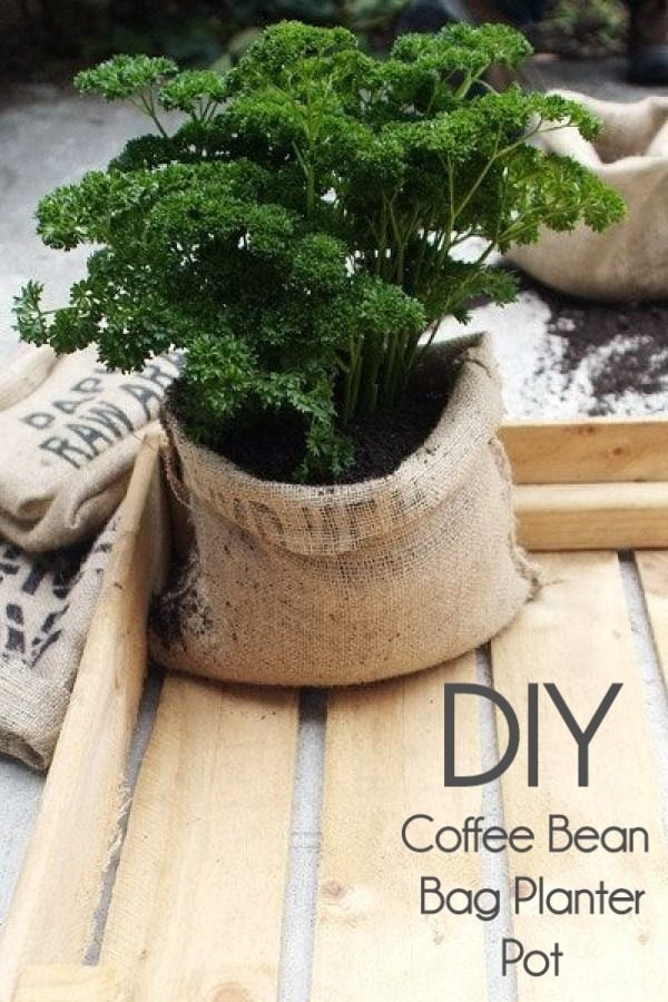 Great idea! Check out the tutorial on how to make a  coffee bean bag garden planter