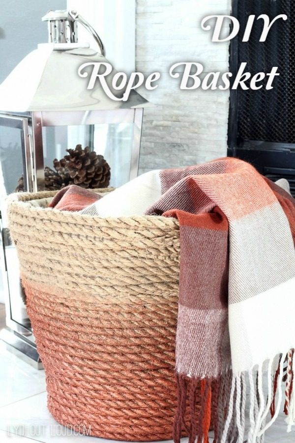 Check out the tutorial on how to make a  rope basket. Looks easy enough!