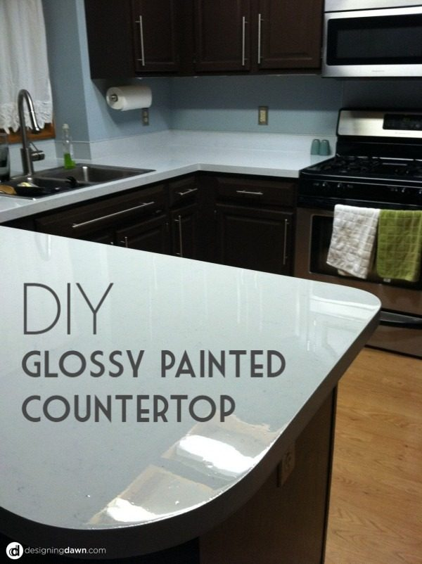 20 Easy Countertop DIY Tutorials to Revamp Your Kitchen - Check out the tutorial on how to make a  glossy paint kitchen countertop. Looks easy enough!