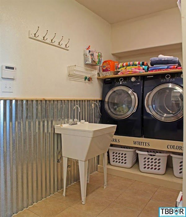 100 Fabulous Laundry Room Decor Ideas You Can Copy - You have to see this laundry room decor idea with industrial wainscoting. Love it! #LaundryRoomDesign #HomeDecorIdeas