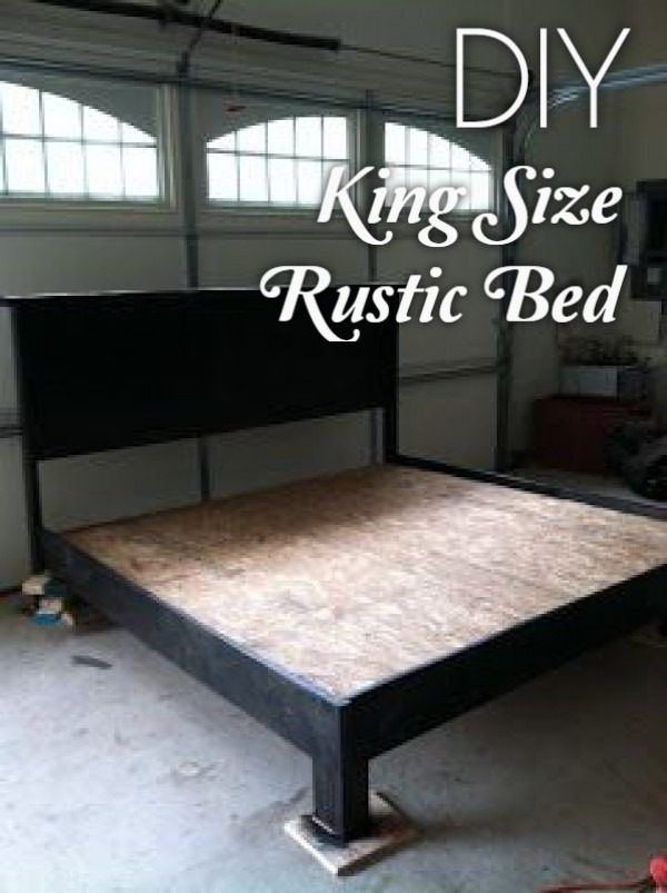 45 Easy DIY Bed Frame Projects You Can Build on a Budget - Check out the tutorial on how to make a #DIY #rustic king size bed frame. Looks easy enough! #BedroomIdeas #HomeDecorIdeas