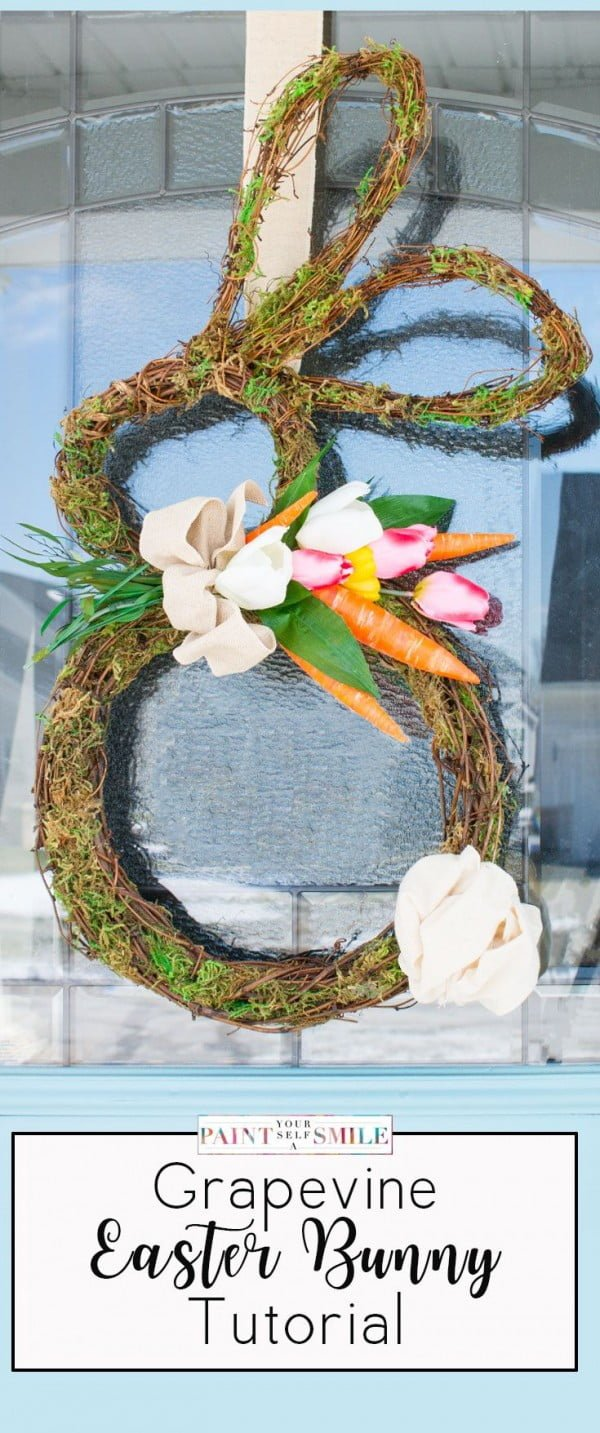 Check out this cute  decor idea with a grapevine Bunny wreath. Love it!