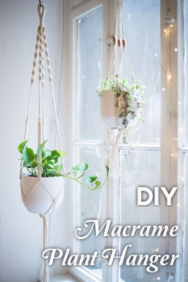 Check out the tutorial on how to make a  macrame plant hanger. Looks easy enough!