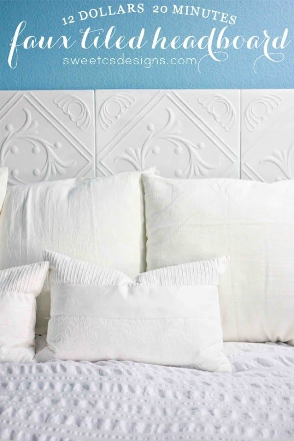 Check out this tutorial on how to make a #DIY faux tile headboard. Looks easy enough! #BedroomIdeas #HomeDecorIdeas