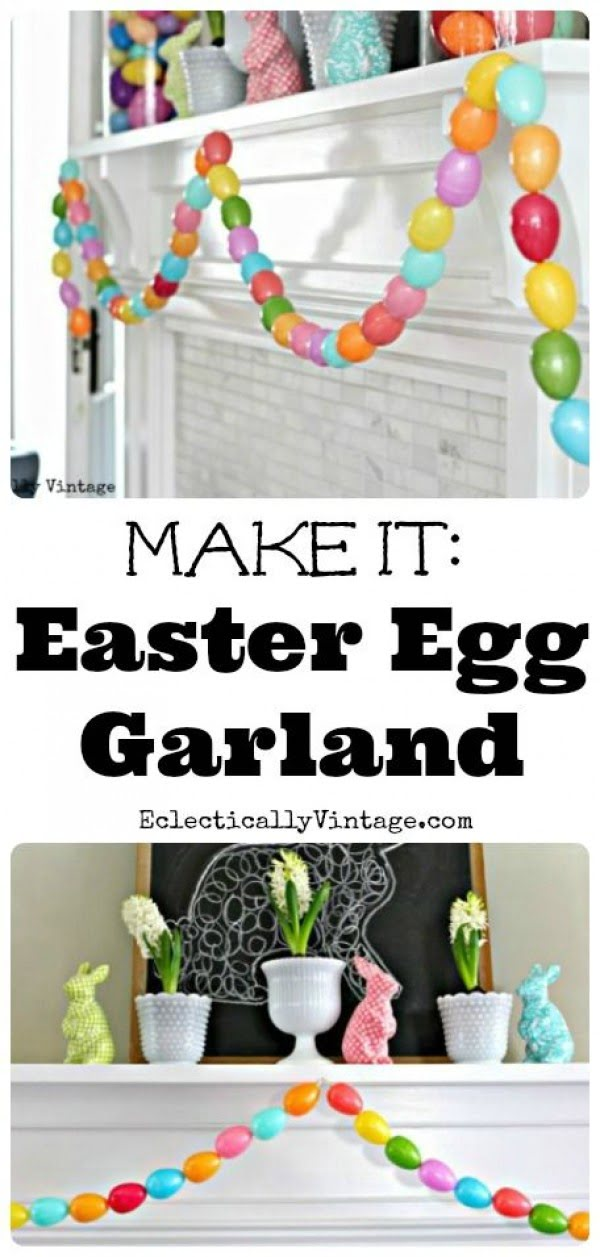 Check out this cute  decor idea with an egg garland. Love it!