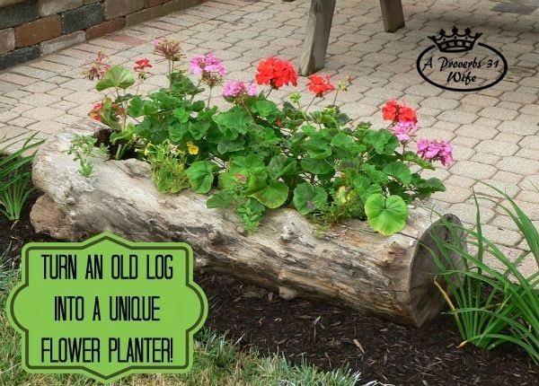 Great idea! Check out the tutorial on how to make a  hollowed log garden planter