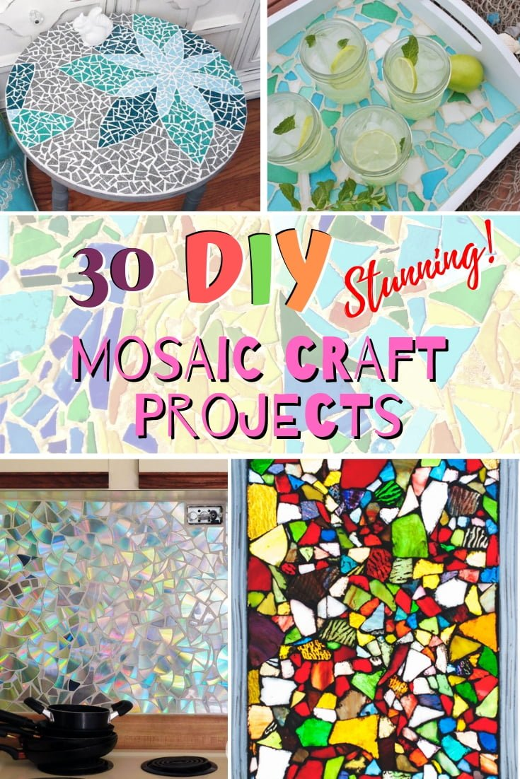 Mosaic crafts make stunning decor and here are 30 really cool and easy DIY projects to try! #homedecor #crafts #DIY