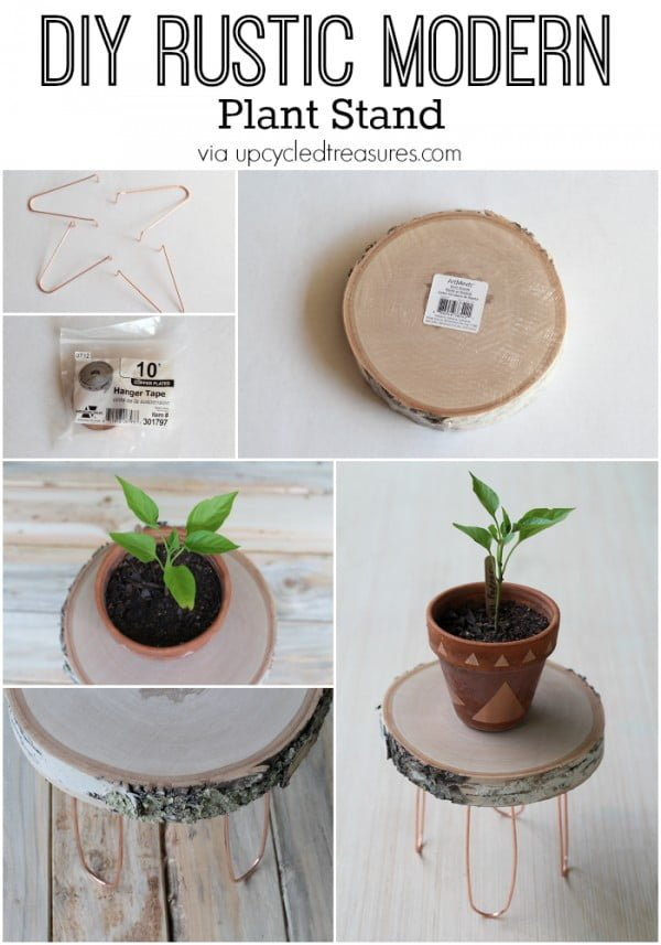 Check out the tutorial on how to make a   modern plant stand. Looks easy enough!