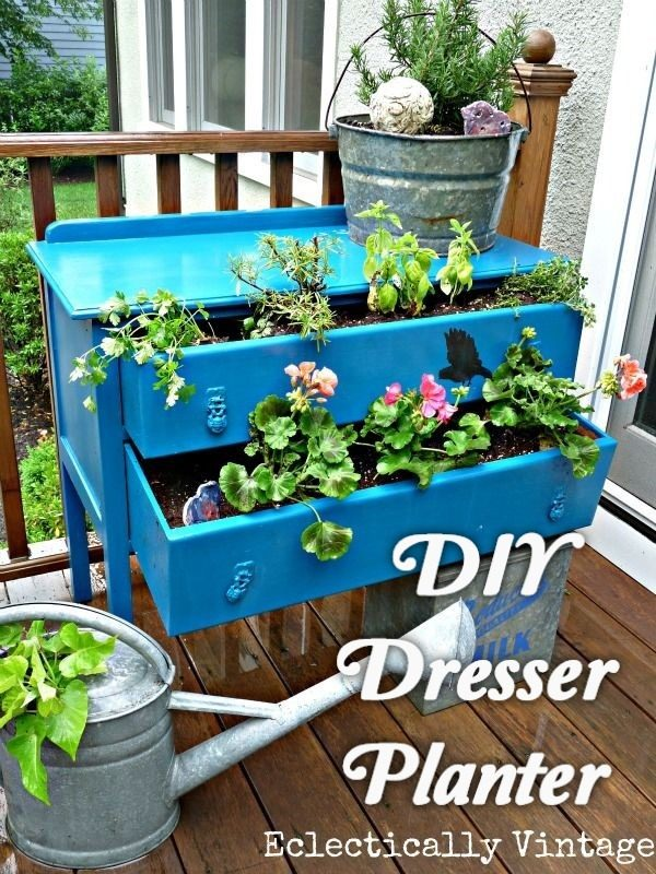 Great idea! Check out the tutorial on how to make a  dresser garden planter