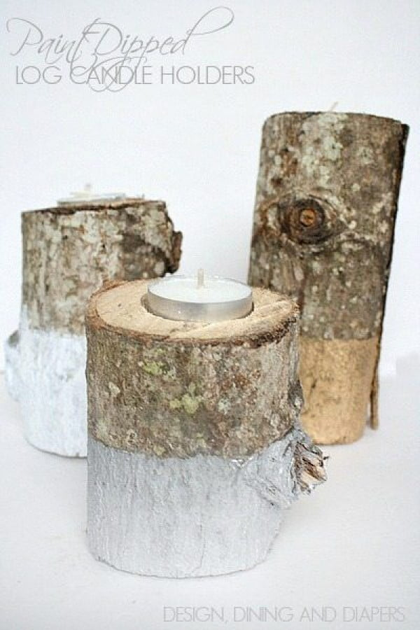 Check out the tutorial on how to make  log candle holders. Looks easy enough!
