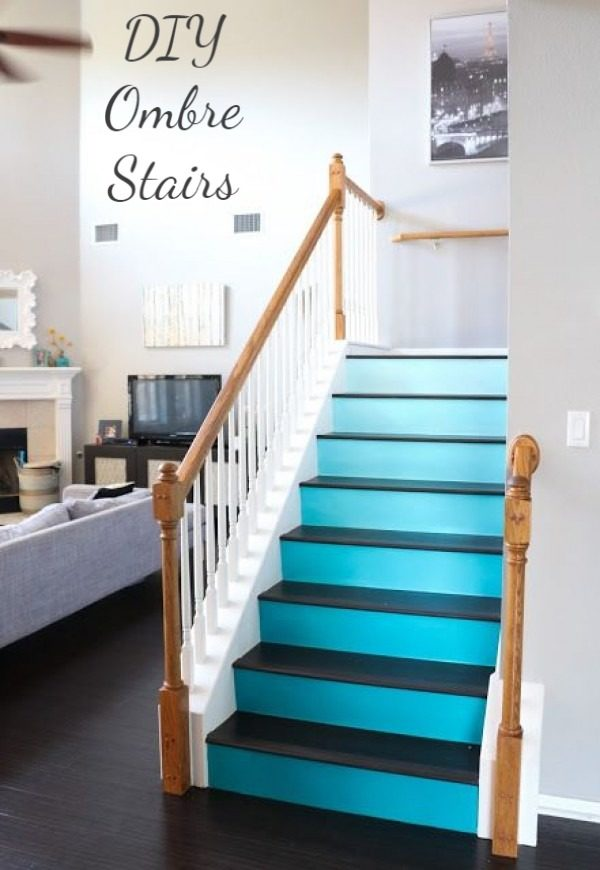 Check out the tutorial on how to make  ombre stairs. Looks easy enough!