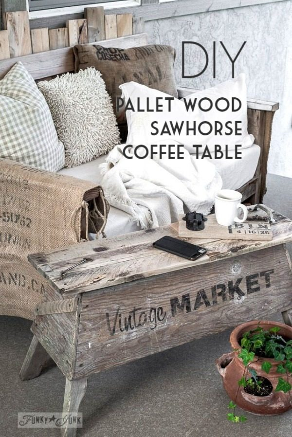 Check out the tutorial on how to make a #DIY sawhorse coffee table. Looks easy enough! #HomeDecorIdeas