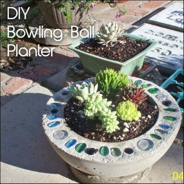 Great idea! Check out the tutorial on how to make a  bowling ball concrete garden planter