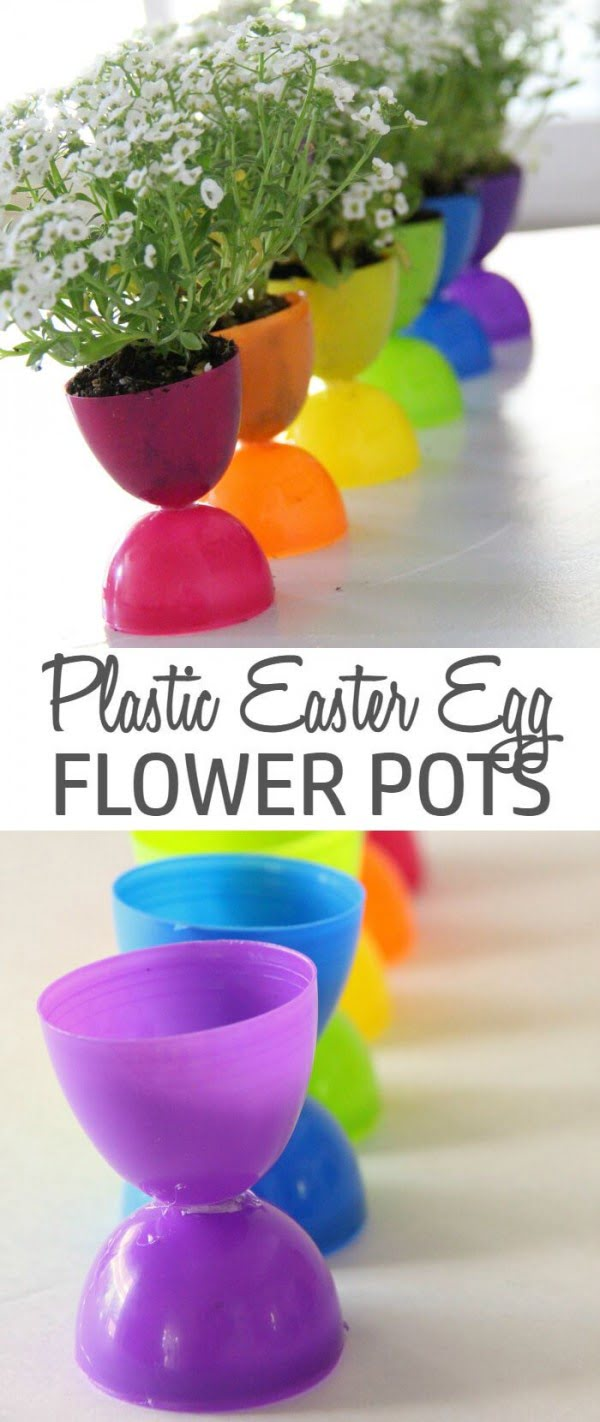 Check out this cute  decor idea with plastic egg flower pots. Love it!