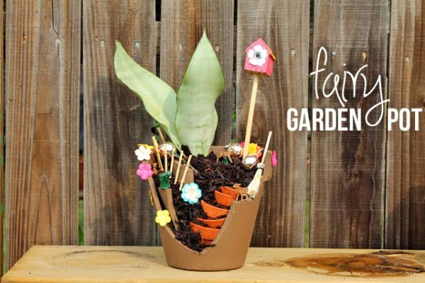 Great idea! Check out the tutorial on how to make a  fairy garden pot planter