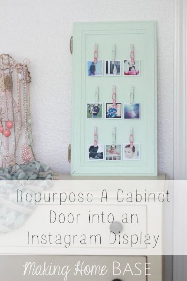 Check out the tutorial on how to make a  cabinet door photo display. Looks easy enough!