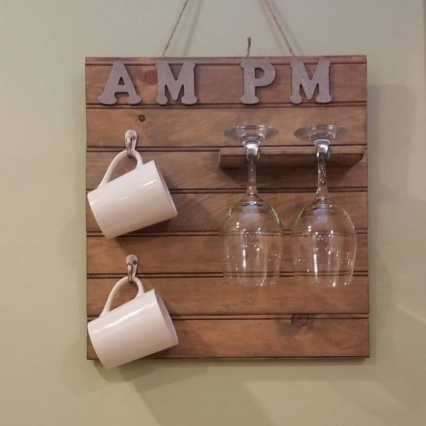 You have to see this #rustic wall decor idea with a mug and wine glass holder. Love it! #HomeDecorIdeas